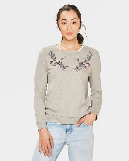 DAMEN-SWEATSHIRT MIT APPLIKATION Hellgrau