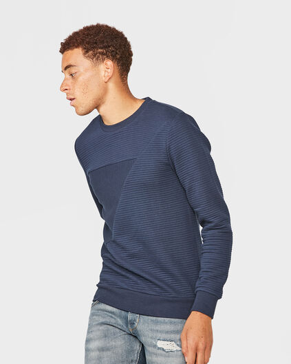 HERREN-SWEATSHIRT IN STREIFEN-OPTIK Marineblau