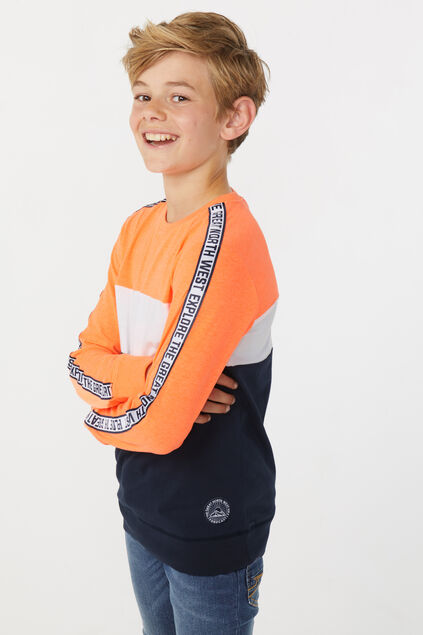 Jungenshirt in Colourblock-Optik Knallorange