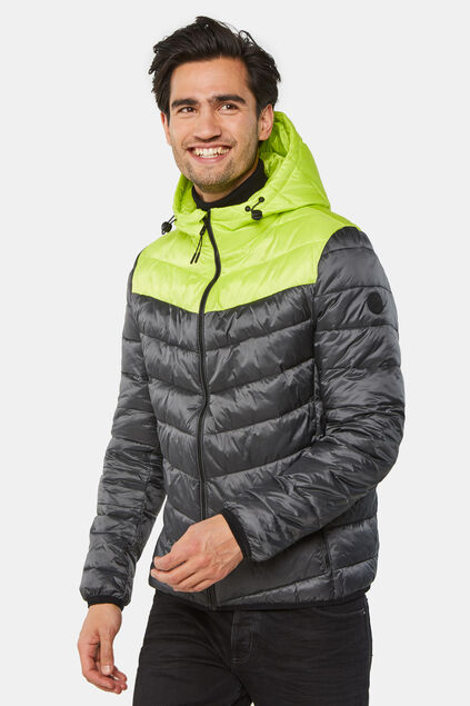 Herren-Steppjacke in Colourblock-Optik Schwarz