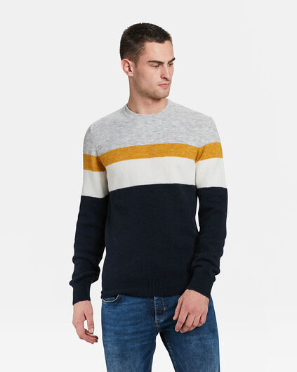 HERRENPULLOVER IN COLOURBLOCK-OPTIK Marineblau