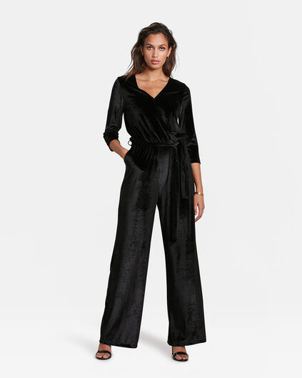 DAMEN-JUMPSUIT IN SAMT-OPTIK Schwarz