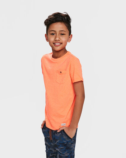 UNISEX KINDER-T-SHIRT MIT BRUSTTASCHE Orange