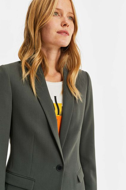 Damen-Regular-Fit-Blazer Graugrün