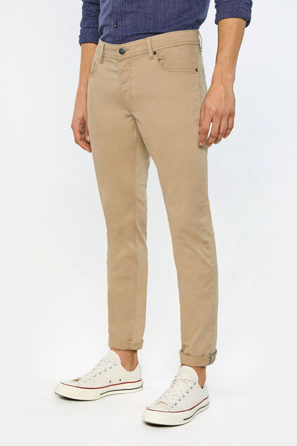 Herren-Slim-Fit-Hose mit Tapered Leg Beige
