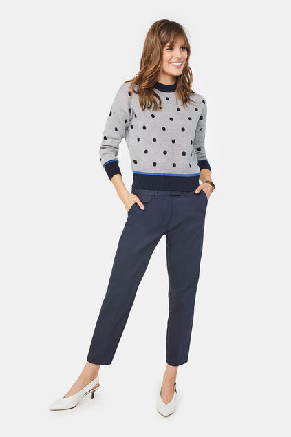 Damen-Slim-Fit-Chinos Dunkelblau