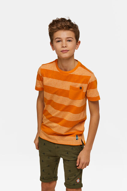 Gestreiftes Jungen-T-Shirt Orange