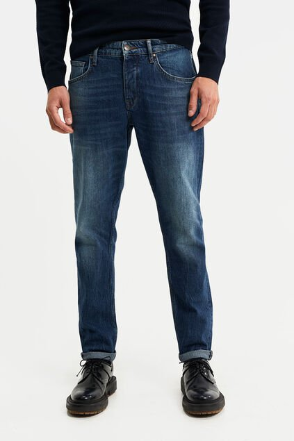Herren-Tapered-Fit-Jeans Dunkelblau