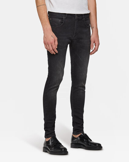 Herren-Superskinny-Jeans mit Tapered Leg Schwarz