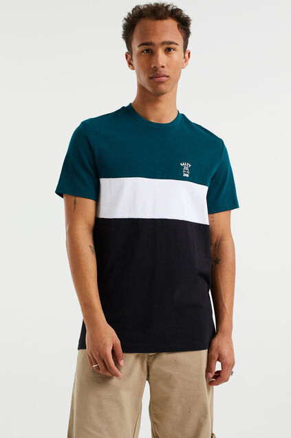 Herren-T-Shirt mit Colourblock-Design Grün