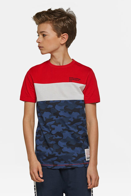 Jungen-T-Shirt mit Camouflage-Muster Rot