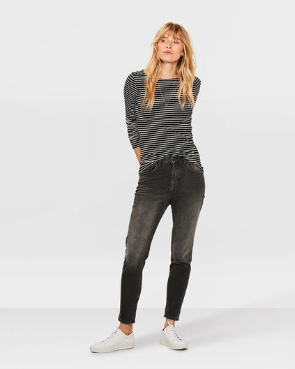 DAMEN-HIGH-RISE-TAPERED-GIRLFRIEND-COMFORT-STRETCH-JEANS Schwarz