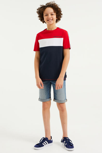 Jungen-T-Shirt mit Colourblock-Design Rot