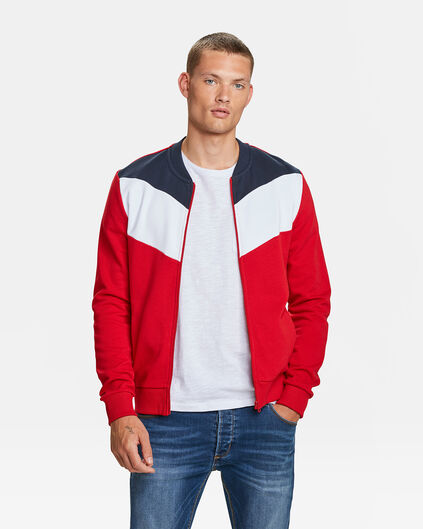 HERREN-SWEATJACKE IN COLOURBLOCK-OPTIK Knallrot