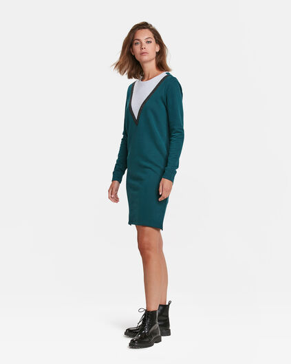 DAMEN-SWEATKLEID IN COLOURBLOCK-OPTIK Benzin