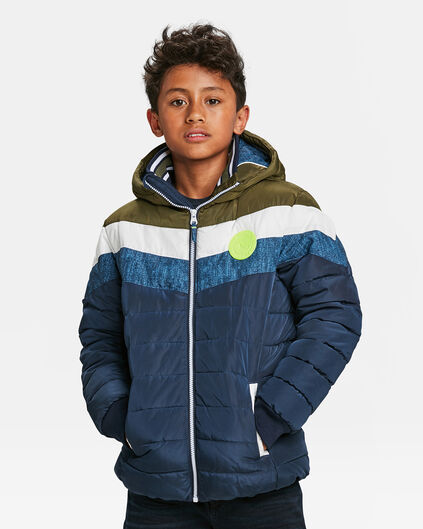 JUNGEN-STEPPJACKE IN COLORBLOCK-OPTIK Olivgrün
