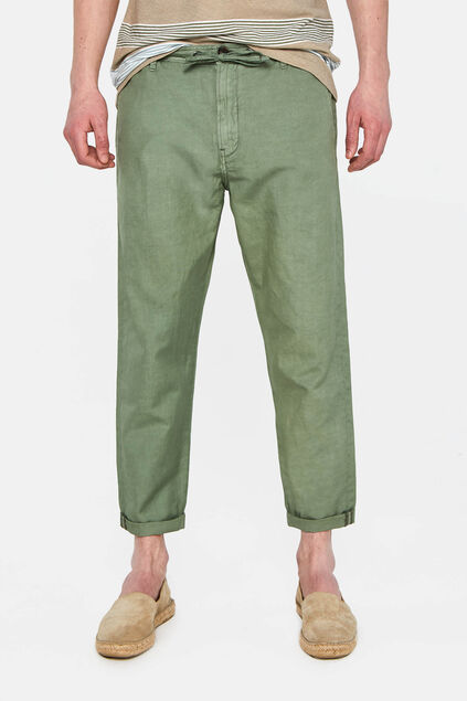 Herren-Loose-Fit-Chinos aus Leinen-Mix Armeegrün