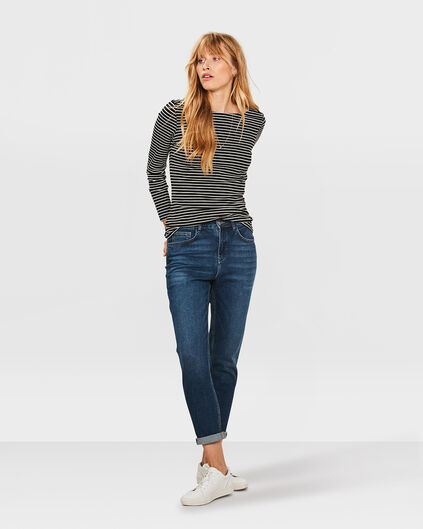 DAMEN-HIGH-RISE-TAPERED-GIRLFRIEND-COMFORT-STRETCH-JEANS Blau