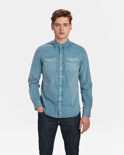 HERREN-REGULAR-FIT-JEANSHEMD Hellblau