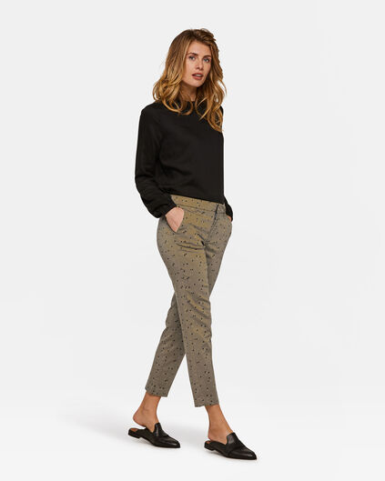 Damen-Slim-Fit-Chino mit Muster Grün