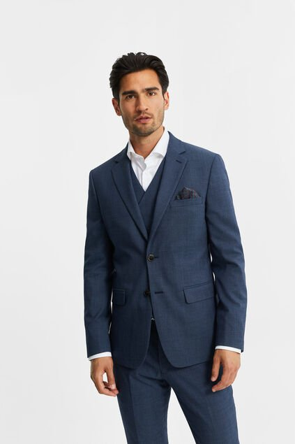 "Herren-Slim-Fit-Sakko ""Corr"" in melierter Optik Marineblau"