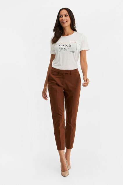 Damen-Slim-Fit-Chinos Zimtbraun