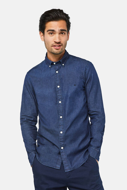 Herren-Slim-Fit-Hemd in Jeans-Optik Indigo