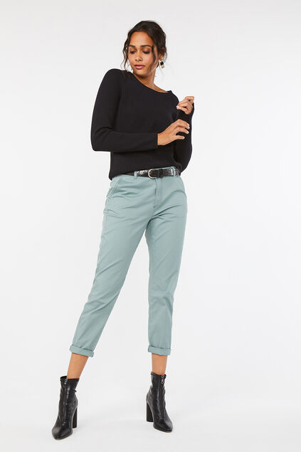 Damen-Regular-Fit-Chinos Graugrün