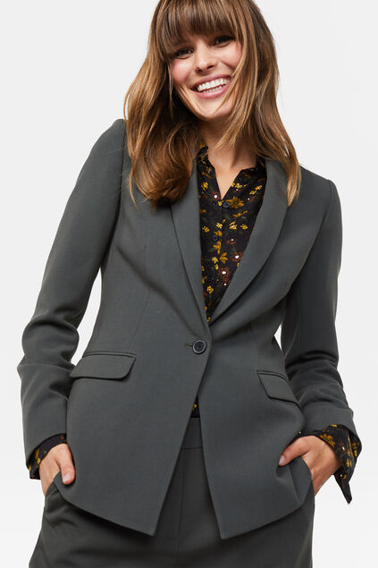 Damen-Regular-Fit-Blazer Grün