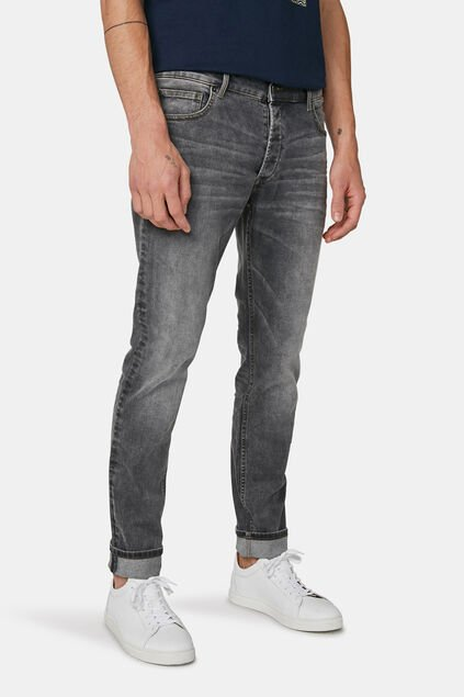 Herren-Slim-Fit-super-stretch-Jeans mit Tapered Leg Grau