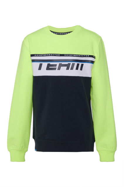 Jungen-Sweatshirt in Colourblock-Optik Knallgelb