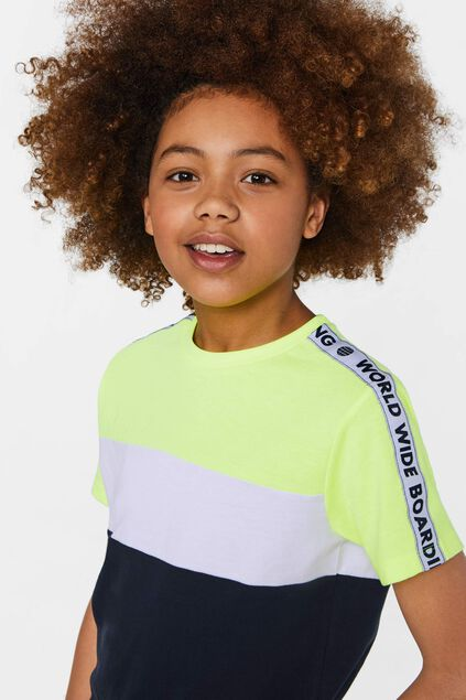 Jungen-T-Shirt in Colourblock-Optik Knallgelb