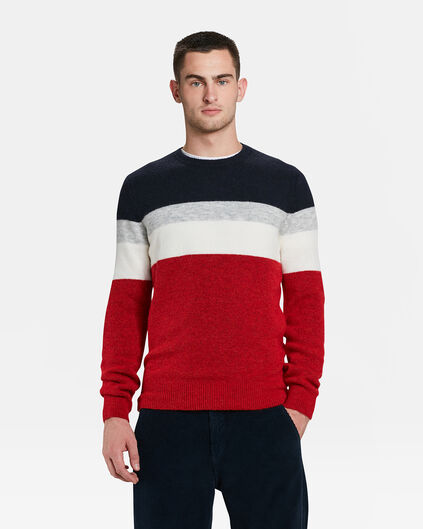 HERRENPULLOVER IN COLOURBLOCK-OPTIK Knallrot