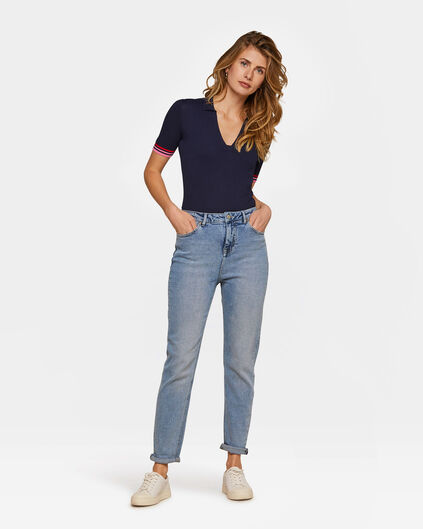 Damen-High-Rise-Jeans aus Comfort-Stretch Blau