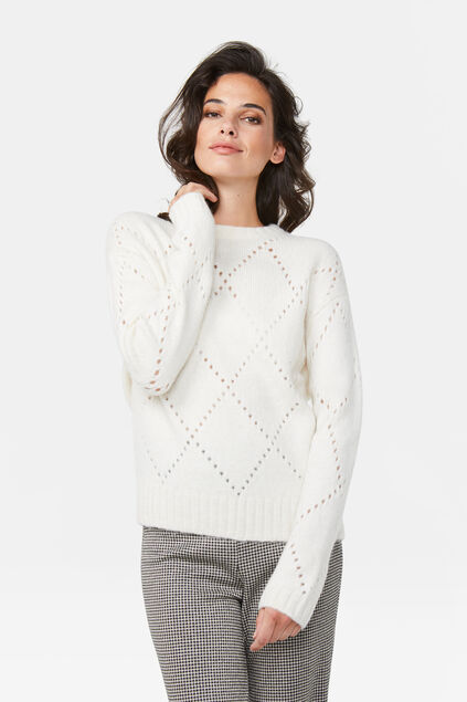 Damenpullover in Oversized-Optik Elfenbein