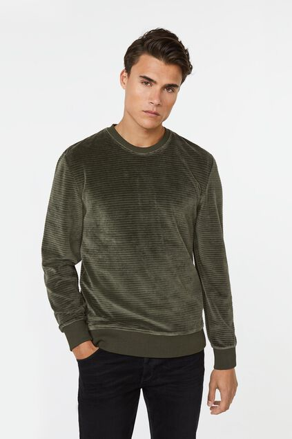 Herren-Sweatshirt in Ripp-Optik Armeegrün
