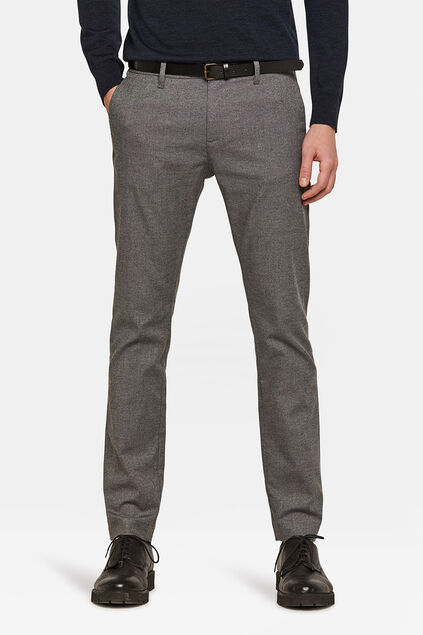 Herren-Skinny-Fit-Chino in melierter Optik Hellgrau meliert