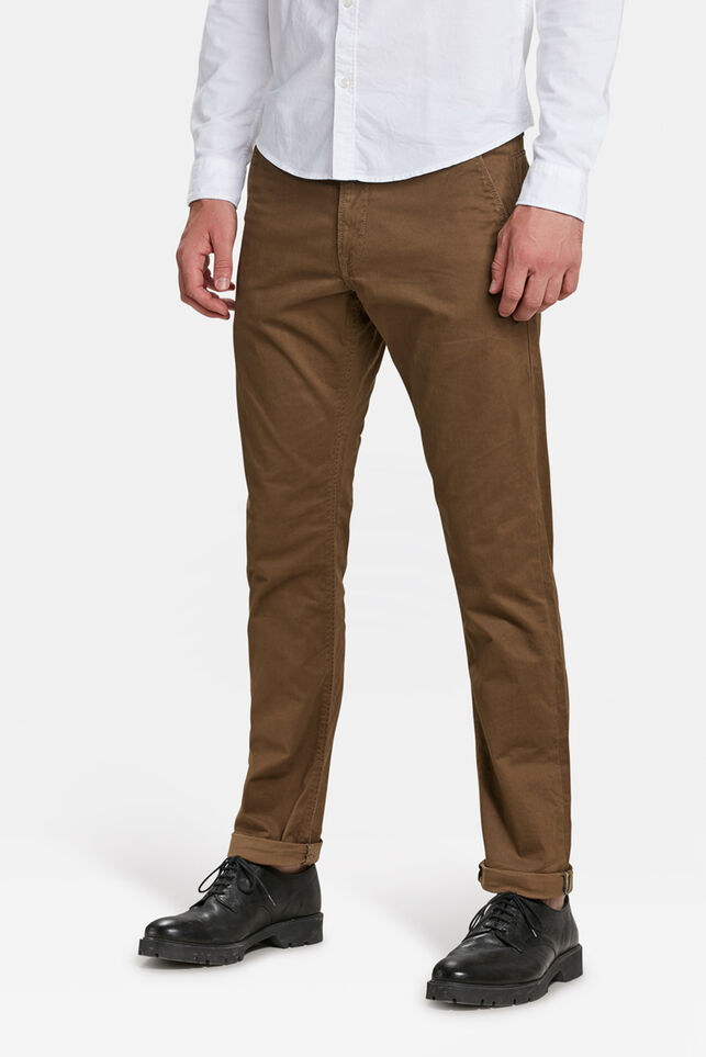 Herren-Slim-Fit-Chinos mit Tapered Leg Zimtbraun