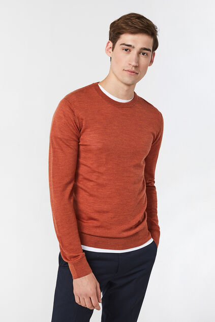 Herrenpullover aus Merinowolle Orange