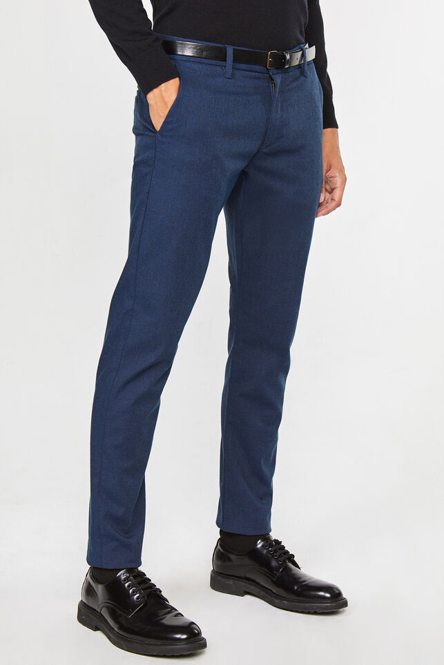Herren-Slim-Fit-Chinos mit Tapered Leg Dunkelblau