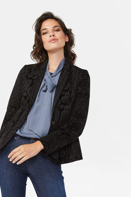 Damen-Regular-Fit-Blazer mit Muster Schwarz
