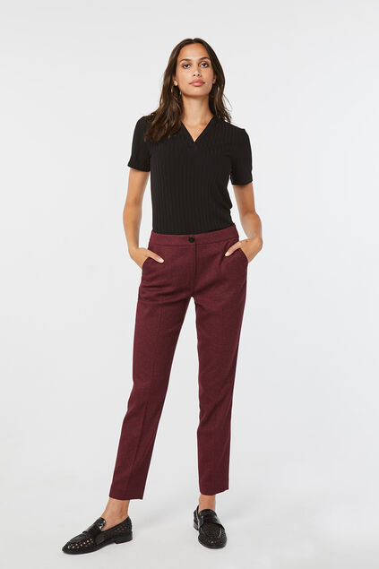 Damen-Slim-Fit-Hose Weinrot