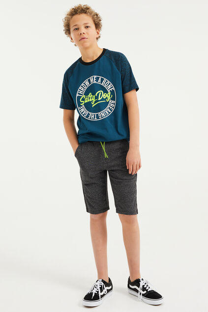 Jungen-Joggingshorts in melierte Optik mit Colourblock-Design Grau