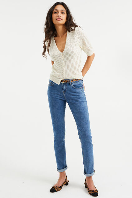 Damen-Slim-Fit-Jeans mit Super-Stretch und normaler Bundhöhe Blau