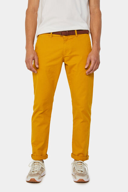 Herren-Slim-Fit-Chinos mit Tapered Leg Senfgelb
