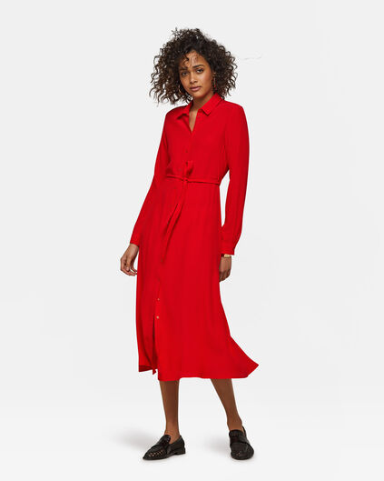 Damenkleid mit Button-Down-Kragen Rot