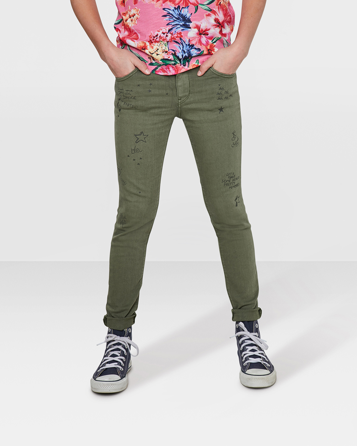 mdchen superskinny jeans mit muster olivgrn - Jeans Mit Muster